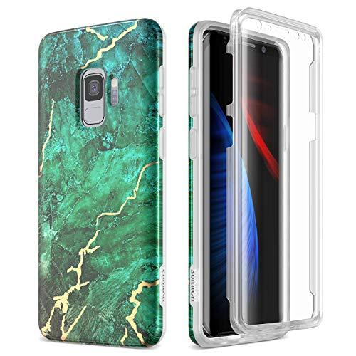 SURITCH Kompatibel mit Samsung Galaxy S9 Hülle 360 Grad Hüllen mit Integriertem Displayschutz Silikon Komplettschutz Handyhülle Schutzhülle für Samsung Galaxy S9 Jadegrün