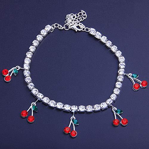 Rhinestone Anklet Bracelets Tennis Chain Cherry Bracelet Crystal Anklet Boho Foot Chain Bracelet Crystal Armlet Rhinestone Bridal Wedding for Women Body Jewelry (Silver)