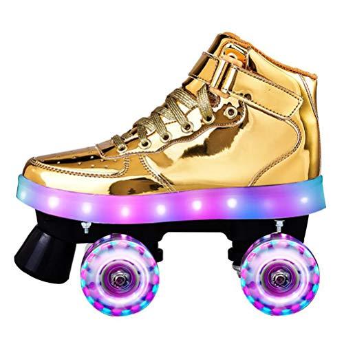 LBWNB Unisex Rollschuhe Leuchtend Roller-Skates Disco-Roller Mit Leuchtenden PU-Rädern Für Anfänger Verstellbar,Flash Gold,41