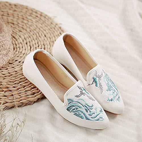 SYXYSM Zapatos Grúa en el río Bordado Mujeres Lienzos Pisos Ladies Casual Punta de Toe Denim Ballet Zapatos Confort Mujer Retro Slip Ons Zapatos Huesos (Color : White, Size : 36 EU)