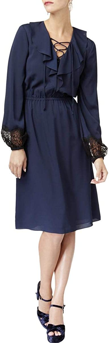 Kobi Womens Damaris Long Sleeves Knee-Length Cocktail Dress Navy S