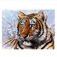 数字油絵 数字キット塗り絵 手塗り DIY絵 タイガーアニマル デジタル油絵 40 x 50 cm ホーム オフィス装飾