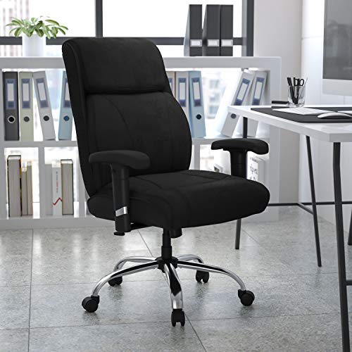 Flash Furniture HERCULES Series Big & Tall 400 lb. Rated Black Fabric Ergonomic Task Office Chair with Line Stitching and Adjustable Arms