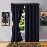 Warm Home Designs 1 panel de cortinas opacas de color negro con ojales. El panel térmico de ventana de tamaño largo con aislamiento es de 137 x 244 cm de longitud e incluye alzapaños a juego. N...