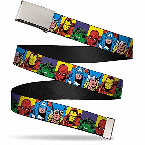 Buckle-Down unisex child Buckle-down Web Avengers 1.0' Belt, Marvel Superhero Blocks Multi Color, 1.0 Wide - Fits up to Kids Size 20 US