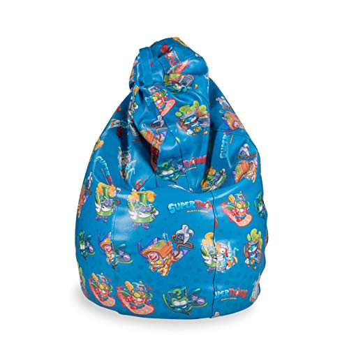 MiPuf - Puff de Pera Súper M Edición SuperThings - 120x75x75 cm - Tejido Polipiel Alta Resistencia - Doble Costura y Doble Cremallera - Relleno Incluido - Azul - 4 años de Garantía