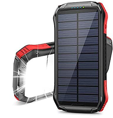 Solar Power Bank 16000mAh, Solar Portable Charger【2020 Newest】with 2 USB Outputs & Type-C Input IP65 Waterproof 15 LED Portable Flashlight Battery Pack for Outdoor Activities, Mobile Phones and iPad