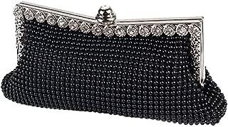 JIAN YA NA Womens Beautiful Sparkly Black Crystal Satin Evening Party Clutch Bag Wedding Handbag For Ladies
