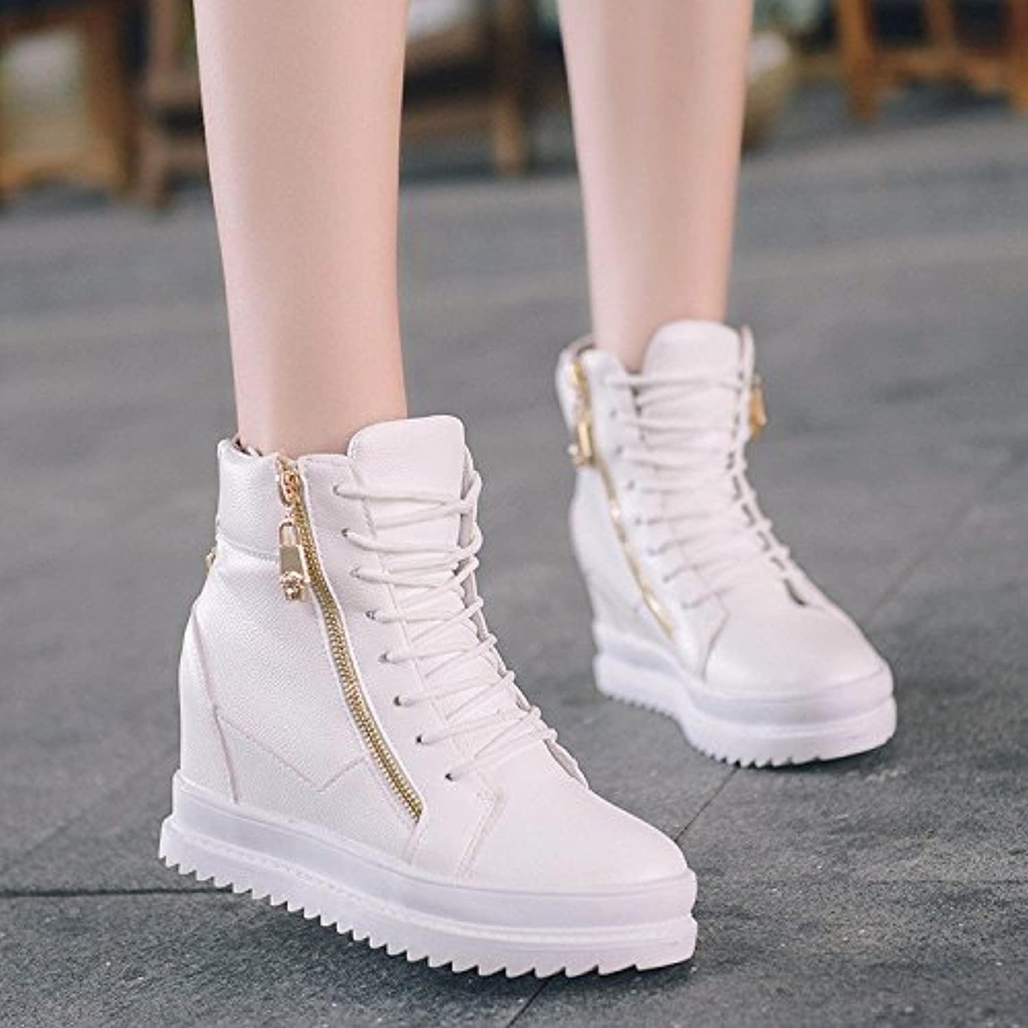 WYMBS Women's shoes Female Boots Autumn Winter Increased Within Mid Heel Slope with High Help Tie Casual shoes,White,39