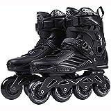 LBWARMB Pattini in Linea Regolabili All'aperto for Adulti Nero Professionale Pattini in Linea Roller Skates Comfy Freestyle Rollerblades for Le Donne e Ragazzi (Color : Black, Size : 35)