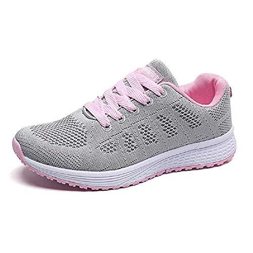 Zapatillas de Deportivos de Running para Mujer Gimnasia Ligero Sneakers Negro Azul Gris Blanco 35-40 Gris 35