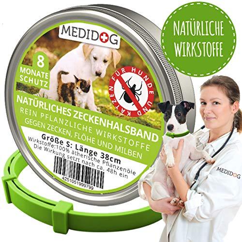 Medidog Natürliches Zeckenhalsband für Hunde (Größe S für kleine Hunde + Katzen)