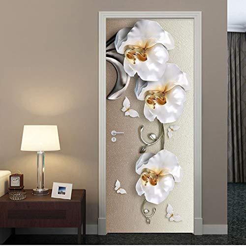 MNJKH Türaufkleber Wandbild, Selbstklebende wasserdichte Türaufkleber im europäischen Stil 3D Stereo Butterfly Orchid Flowers Wandbild Wallpaper Luxus Wandaufkleber