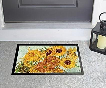 1art1 Vincent Van Gogh Stillleben Mit Sonnenblumen 1888 Fußmatte Innenbereich Und Außenbereich Design Türmatte 70 X 50 Cm Küche Haushalt