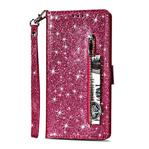 Artfeel Reißverschluss Brieftasche Hülle für Huawei P20 Lite, Bling Glitzer Leder Handyhülle mit Kartenhalter,Flip Magnetverschluss Stand Schutzhülle mit Tasche und Handschlaufe-Rose Rot