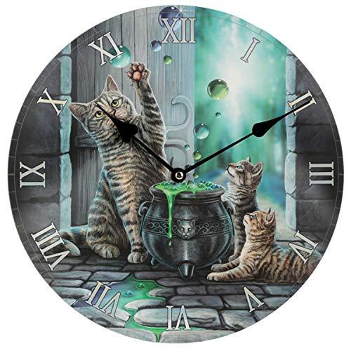 Lisa Parker Dekorative Wanduhr, Katzen-Hubble, MDF, Mehrfarbig, Höhe 30 cm, Tiefe 3,5 cm