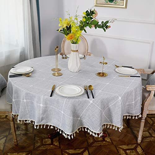 NEKKA Round Tablecloth, Classic Embroidery Table Cover, Cotton Linen Tassel Desk Cover for Kitchen Dining Tabletop De...