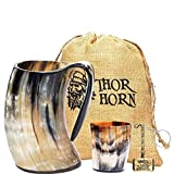 Global Prime Craft Thor Horn Drinking Horn Mug with Acrylic Base - Genuine Handcrafted Viking Horn Cup for Mead, Ale and Beer - Original Medieval Stein Mug with Burlap Gift Sack