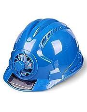 HONGY Casco Ventilado Lugar de Trabajo Protector Pantalla Duro Energía Solar Seguridad Construcción Ciclismo Ajustable Exterior Seguridad con Ventilador Sombrero (Amarillo) - Azul, Free Size