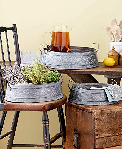 %55 OFF! Set of 3 Galvanized Metal Serving Trays Country Farmhouse Buckets
