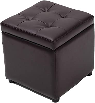 Peachy Amazon Com Tufted Leather Square Flip Top Storage Ottoman Cjindustries Chair Design For Home Cjindustriesco