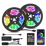Tira de LED Bluetooth,VIFLYKOO Barra de Luz de la Música Ajustable 300 LEDs 32.8FT,Control de aplicaciones y control remoto,para sala de estar, dormitorio,cocina, Navidad,Halloween(No impermeable)