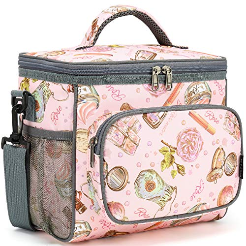Insulated Reusable Lunch Bag Adult Large Lunch Box for Women and Men with Adjustable Shoulder Strap,Front Zipper Pocket and Dual Large Mesh Side Pockets by FlowFly,Pink Rose