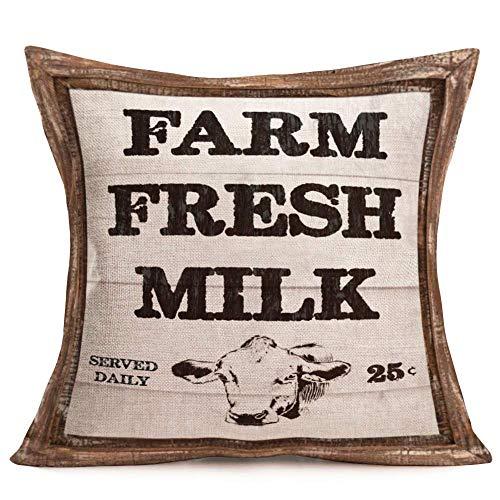 Funda de almohada Farmhouse con diseño de vaca, leche fresca, para salón, salón, sofá, funda de algodón, tamaño para decoración del hogar, festival, regalo, doble cara, 50 x 60 cm
