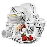 VEWEET Teresa 40pcs Service de Table Pocelaine 8pcs Assiettes Plates 24,6cm, Assiette...
