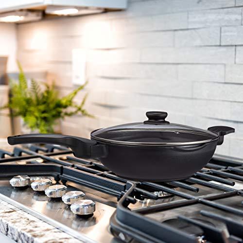 Relaxdays Wok - Sartén wok con tapa de cristal (30 cm, asas, antiadherente, apta para inducción, gas, eléctrica, 4 L), color negro