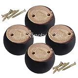 AZHom Oak Wood 8x8x5cm Negro Eucalyptus-Madera Muebles Redondos Patas Pies 100kg Peso de rodamiento para gabinetes de sofá Mesas Conjunto de Cama de 4