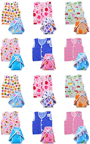 V.B.K™ Newborn Baby's Dress Cotton Jhabla (Pack Of 12) Cloth with Nappies (Pack Of 12) ( Multicolor , 0 to 6 Months ), Random Print and Designs