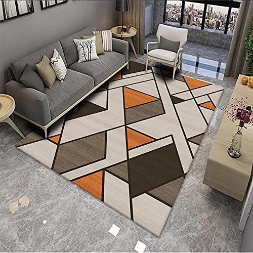 CLYDX Alfombras Salon Habitación Alfombra Pasillo Lavables Rug Dormitorio Sala de Estar Alfombra Antideslizante Alfombra para el Juego de los niños Decora el 120x160 cm (Geometría de Diamante)