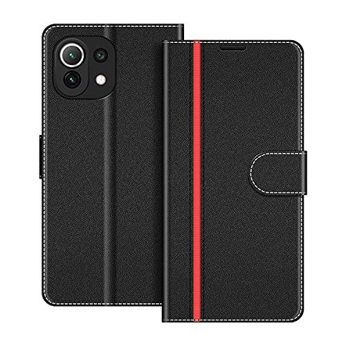 COODIO Custodia per Xiaomi Mi 11 Lite, Custodia in Pelle Xiaomi Mi 11 Lite, Cover a Libro Xiaomi Mi 11 Lite Magnetica Portafoglio per Xiaomi Mi 11 Lite Cover, Nero/Rosso
