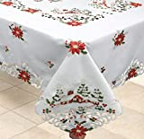 Creative Linens Holiday Christmas Tablecloth 68' Square with 8 Napkins Embroidered Red Poinsettia Christmas...