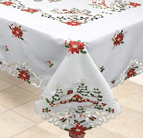 Creative Linens Holiday Christmas Tablecloth 68' Square with 8 Napkins Embroidered Red Poinsettia Christmas Tree Snowy Cabin Table Linen White