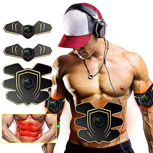 ROOTOK EMS Bauchmuskeltrainer bauchtrainer Elektrische Muskelstimulation,abs bauchmuskeltrainer,EMS Trainingsgerät und Fettverbrennungen für Männer und Frauen