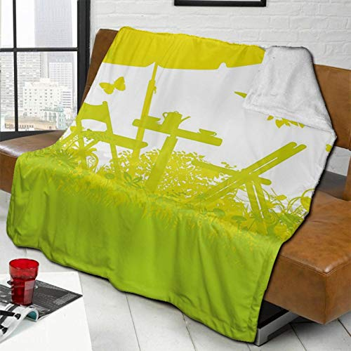 L-shop Garden Two Chairs with Umbrella In The Garden Trees and Grass Coffee Time Print Light Green Lime Green Personalized Fashion Lamb Blanket