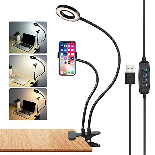 axeqoo Lampara Lectura con Flexo Pinza, LED Luz Lectura con 3 Modos de Luz y 10 Brillo Ajustable 360° Flexible USB Regulable Lámpara de Escritorio, Lámpara para Libro, Lampara Pinza para Cabecero Cama