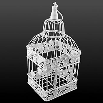 Cage à oiseaux en métal carré blanc P-333 petit avec des coeurs