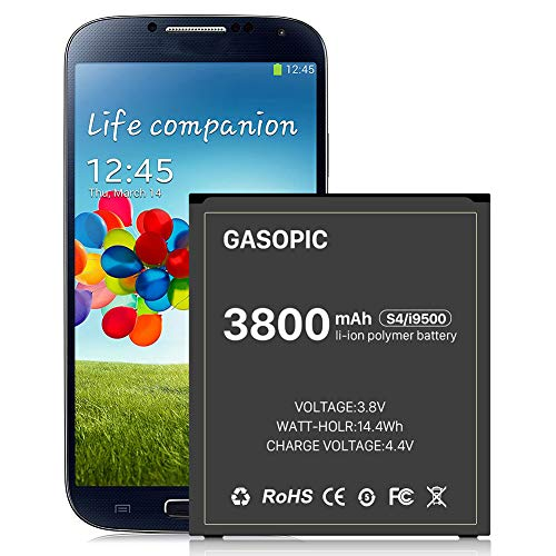 Galaxy S4 Battery,Upgraded 3800mAh Li-ion Replacemnt Battery for Samsung S4 EB-B600BE,AT&T I337, Verizon I545, Sprint L720, T- Mobile M919, R970, I9500, I9505-[1Years Warr]