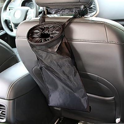 IPELY Car Vehicle Back Seat Headrest Litter Trash Garbage Bag (Black-Set of 2)