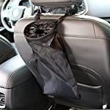 IPELY Universal Car Vehicle Back Seat Headrest Litter Trash Garbage Can (Black-2Pack)...