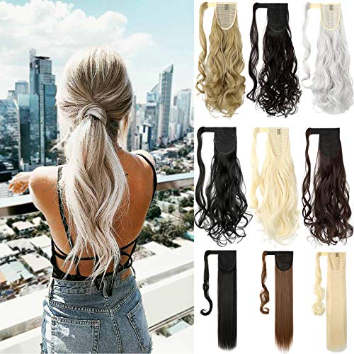 Felendy 18' 24' Ponytail Extension Curly Straight Drawstring Hairpiece Wrap Around Long Hair Extension for Women Ash Blonde Mix Ginger Brown