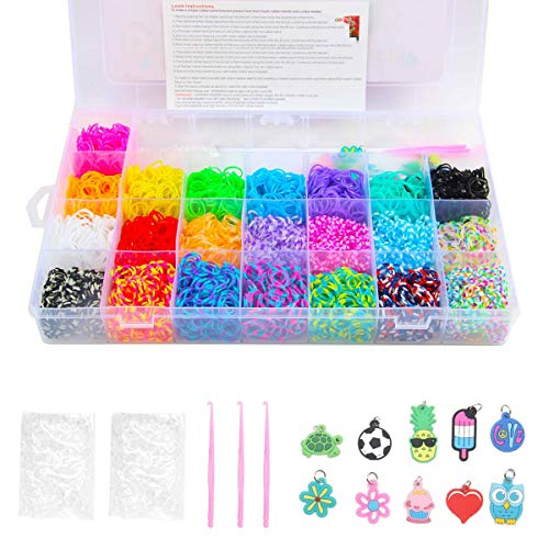 Yi RAN Creative Loom Twist Bands Kit & Friendship Bracelet Making Kit with 4200 Bands + 96 Clips + 4 Hooks + 1 Loom Board + 10 Charms in Storage Case for Party,X-mas Birthday Gift for Kids