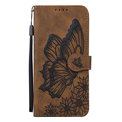 Funda de piel con tapa para Xiaomi Redmi Note 10Pro, diseño de mariposa, retro, con cierre magnético, ranura para tarjeta y soporte, color marrón