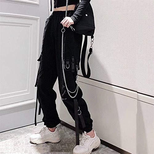 Freizeithosen Damen Cargohose Elastic Waist Schnalle Band Tasche Jogger High Streetwear Harajuku Hose Punk Ringkette Damen Hose L Schwarz