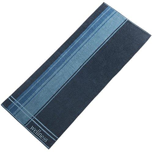 CelinaTex Wellness Saunatuch 80x200 cm Baumwolle Frottee Handtuch mit Stickerei Handtuch dunkel blau 0002145
