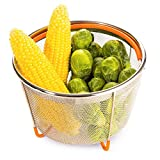 BB&ONE - Cesta de vapor para verduras de 6 cuartos de galón ideal para olla a presión – sartén – olla – Crockpot – con mango de silicona y patas – Colador de acero inoxidable