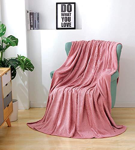 JessyHome Mantas de Felpa de Franela Doble/Doble, Mantas de Cama mullidas de Felpa, Mantas de Cama onduladas para sofá/sofá 150x200cm-rosa Claro